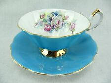 QUEEN ANNE CUP AND SAUCER - BLUE - ROSE BOUQUET - 306
