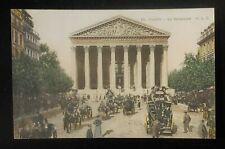 1900s La Madeleine Horses Carriages Double Deck Wagon Paris France Postcard