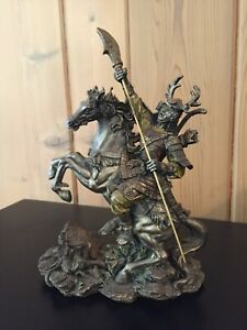 """Veronese God Knight Riding Horse With Weapon, Bronze Sculpture Figurine 8"""" Tall"""