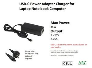 45W USB-C AC Power Adapter Charger Cable 5V~20V/2.25A for Laptop Computer AU