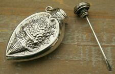 Beautiful Sterling Silver Teardrop Shaped Chatelaine Scent Perfume Snuff Bottle