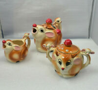 Rudolph Deer Pottery Tea Set Teapot Creamer Sugar Christmas Kitsch Unmarked VTG