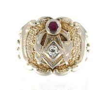 """Vintage 14kt Yellow Gold Masonic Ring from 1956 - Square and Compass """"G"""""""
