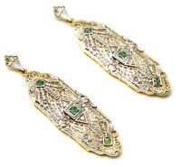 Ohrstecker Smaragd & Diamant    925 Sterling Silber   Vergoldet   ART DECO