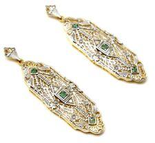 Pendientes Esmeralda y Diamante Plata de Ley 925 Bañado en Oro Art Deco