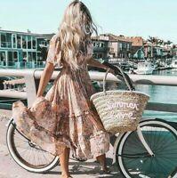 L New Bohemian Gypsy Floral Midi Market Dress Vtg 70s Ins Womens Size LARGE NWT