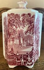 Antique Mason's Patent Ironstone Vista Pink England Tea Caddy For Twinings LTD
