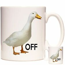 DUCK OFF, White duck ceramic mug, Can be personalised. Dishwasher safe