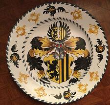 Handbemalter WAPPENTELLER DRESDEN, wohl Porzellan oder Keramik, schwarze Rose