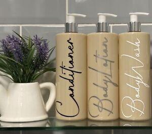 Mrs Hinch Inspired 500ml Nude Pump Bottles Set Bathroom Kitchen Shower Vinyl