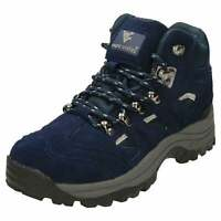 Ladies Waterproof Walking Hiking Ankle Boots Suede Leather Blue Lace Up Shoes