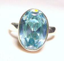Blautopas Ring 925 Sterling Silber fac. 14 x 10 mm Edelstein modisch neu