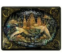 Russian Palekh Lacquered Trinket Box, Handmade, Nordic Tales, Mother-of-Pearl