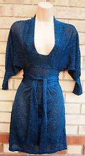 TOPSHOP BLACK BLUE GLITTER SPARKLY BELTED A LINE KNIT PARTY EVENING DRESS 8 S
