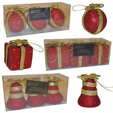 Set of 9 Christmas Tree Decorations Red & Gold - 3 Parcels, 3 Balls & 3 Bells
