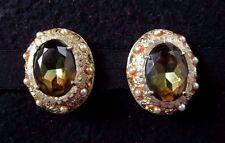 Rare French Vtg Dore Signed Amber Rhinestone/Color Change Topaz Clip Earrings