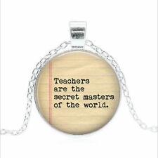 TEACHERS are the secret Tibet silver Glass dome Necklace chain Pendant Wholesale