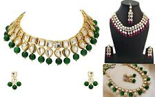 3 X Indian Bollywood Traditional Bridal Kundan Pearls Fashion Jewelry Sets Lot