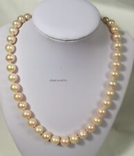 Genuine Silver 10-11mm Circle freshwater pearls necklace L46cm free earing PINK