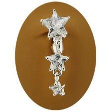 Falso piercing ombligo ombligo anillo no Clip Estrella de cristal claro Cascada estrellas