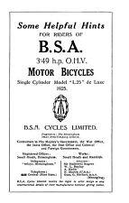 (0195) 1925 BSA 3.49hp L25 instruction book