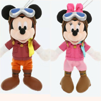 Disney Tokyo Mickey & Minnie Mouse Plush Doll Soring Flight Pilot Set of 2