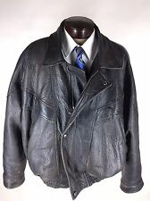 EXCELLED Leather Jacket 3XL Brown Biking Zipper Front Snap Over Flap Riding VTG