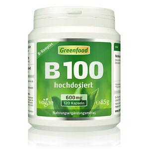 Greenfood B-Komplex 100, extra hochdosiert, 120 Kapseln - vegan