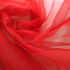 Rojo Brillante Drapeado Tul tejido 150cm ancho piezas por metro Fiesta Ceremonia