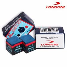 4 pcs of Longoni BLUE DIAMOND Pool cue Billiard CHALK - GENUINE + FREE SHIPPING!