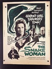 Original 1961 THE SNAKE WOMAN 30 x 40 Theatre Movie Poster SERPENT GIRL HORROR