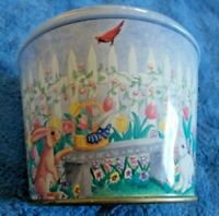 Meister, Round empty Tin, bucket * BUNNIES IN A GARDEN * Made in Brazil 3 1/2""