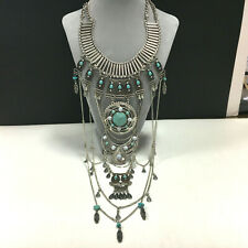 MASSIVE Silver Turquoise Southwest TRIBAL Breast plate Collar Necklace QQ187e