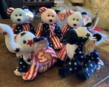 BUNDLE TY BEANIE BABIES 3 x SPANGLE BEAR (PINK WHITE BLUE) LEFTY & RIGHTY ~ USA
