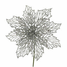 18cm Christmas Party Silver Glitter Poinsettia Flower Snack Pick Cake Decoration