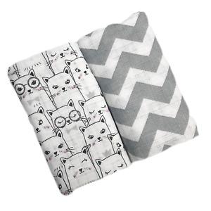 ✅  2 Pack Cats grey Muslin Squares 70x80 100% Cotton Baby Bibs Nappy burp cloth