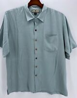 Tommy Bahama Men's Size XL 100% Silk Camp Shirt Solid Mint Green