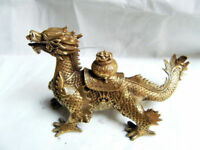 Old Chinese bronze  hand-carved  Dragon Cornucopia statue