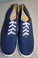 6 NOS TENNIS Shoe NAVY BLUE CANVAS Vtg 70s Round Toe LaCrosse BOHO Gym SNEAKER