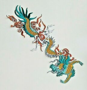 Colored Chinese Dragon Handmade Sew-On Embroidered Patch