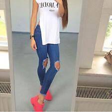 Womens High Waist Skinny Ripped Jeggings Ladies Knee Cut Denium Slim Fit Jeans
