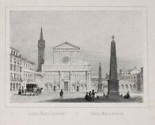 C1840 Florence Firenze santa maria novella Lithographie-vue Arnout