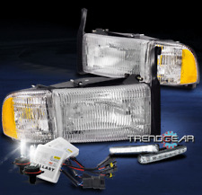1994-2001 DODGE RAM 1500 OE STYLE REPLACEMENT CHROME HEADLIGHT W/DRL LED+HID KIT