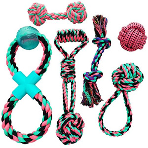 Otterly Pets Puppy Dog Cute Pink Boutique Rope Toys Set 6-Pack Bundle - Small to