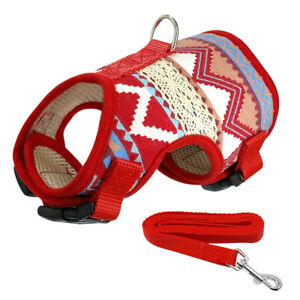 Cute Pet Dog Harness and Leash Soft Mesh Padded Small Puppy Cat Walking Vest Red