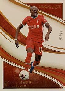 2020/21 Panini Immaculate -Sadio Mane Bronze Base Card - Liverpool #25/50