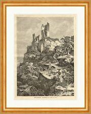 Ruine Drachenfels Stieler Siebengebirge Deutsches Reich Holzstich E 14996 Rahmen