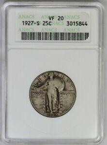 1927-S ANACS 25C Silver Standing Liberty Quarter Very Fine VF20 White Soapbox