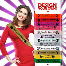 Personalised sash custom printed hen night do bride 18th 21st birthday sashes*