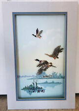 Unique Vintage Landscape Painting Flying Ducks Made with Feathers Reeds Pond Mat